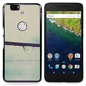 "Qstar Arte & diseño plástico duro Fundas Cover Cubre Hard Case Cover para Huawei Google Nexus 6P (La gota de agua que cae la niebla gris lluvia de primavera de texto"")"