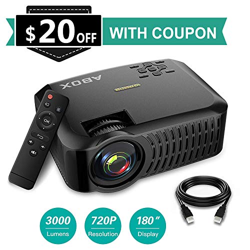 GooBang Doo ABOX A2 720P Portable Projector, 3000 Lumens 1080P Supported LCD Video Projector
