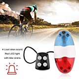 BB Bike Bicycle Cycling 4 Sounds LED Police Car Siren Electric Light Horn Bell, LED Bike Light Electronic Siren for Kids Bike Accessories Scooter