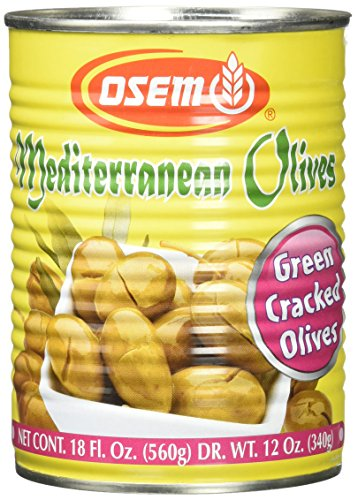 Osem Mediterranean Olives (Kosher for Passover), Green Cracked, 18.0 Ounce (Pack of 12)