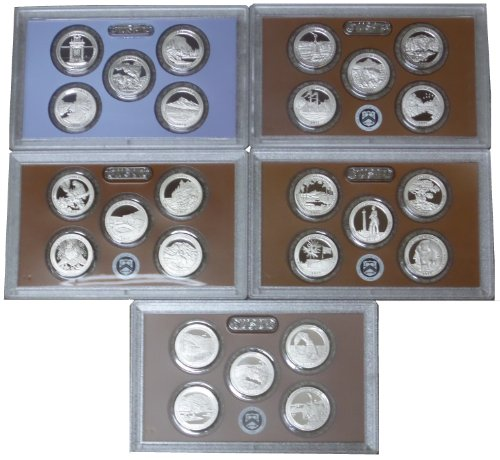 2010-2014 Clad Proof Quarter Sets-All 25 Park Issues No Box/CoA