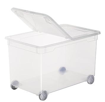 Sundis Clear Box Splito Aufbewahrungsbox 60 l mit Deckel und Rollen, Kunststoff (PP), transparent, 46 Liter (55 x 37,5 x 35 c