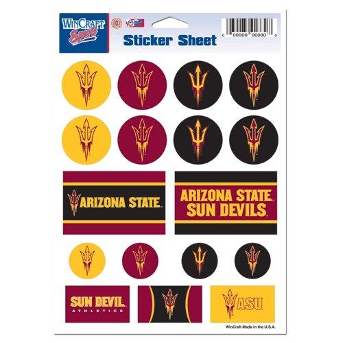 Wincraft NCAA Arizona State University Vinyl Sticker Sheet, 5'' x 7''