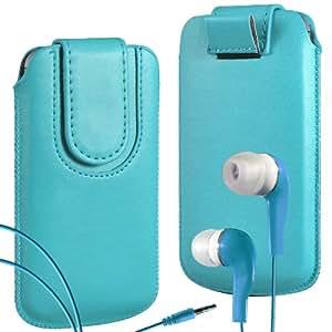 N4U Online Premium PU tirón del cuero del tirón del caso Tab cubierta de bolsa con correa de cierre magnético y Coincidencia Earbud Auriculares para Blackberry Curve 9360 - Azul Bebé