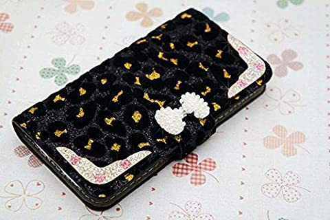 3D Pearl bow bowknot Luxury Bling Crystal Diamonds Wallet Crystal Leopard Leather Case Cover For Alcatel One Touch Pop Mega LTE A995G (Alcatel A995g Lte Phone Cover)