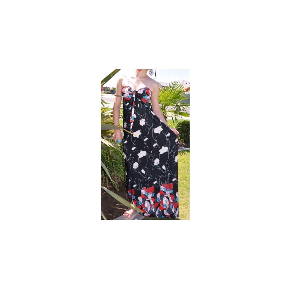 NawtyFox Black,Red Tube/Halter Maxi Dress