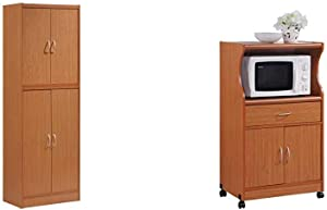 Hodedah 4 Door Kitchen Pantry with Four Shelves, Cherry & Hodedah Microwave Cart with One Drawer, Two Doors, and Shelf for Storage, Cherry