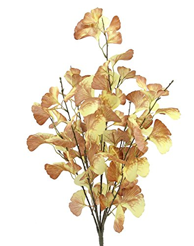 Admired By Nature GPB6417-YW 4 Piece 7 Stems Home Office/Wedding/Restaurant Decoration Arrangement Artificial Ginko Bush, Yellow/Brown