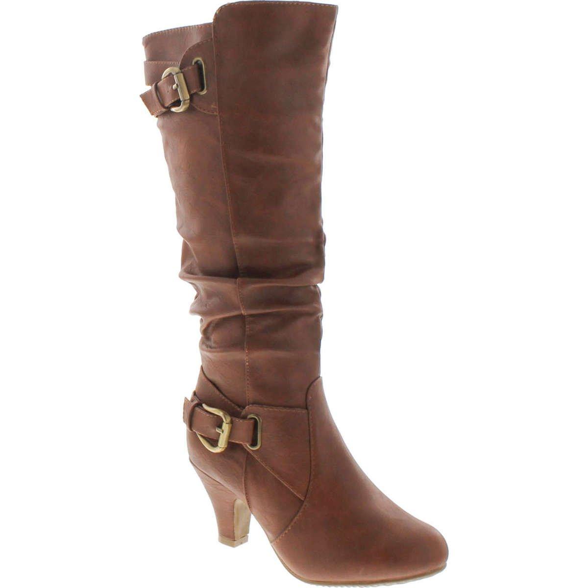 Top Moda Womens Bag-55 Knee High Buckle Slouched Kitten Heel Boots,Tan,6