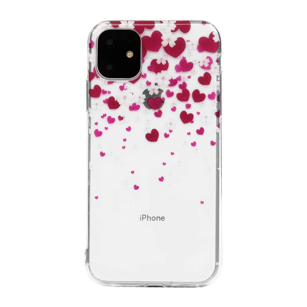 Ultra Thin Crystal Clear Reinforced Corners Soft TPU Bumper Silicone Case with Stylish Cute Pattern Protective Phone Case Cover for iPhone 11 6.1 inch Floral Skull iPhone 11 Case