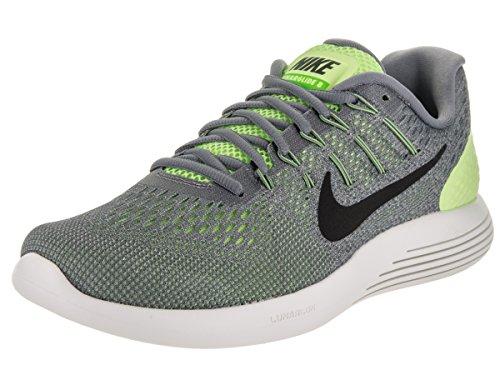 Nike Lunarglide Mens 8 Scarpe Da Corsa Fantasma Nero Verde Grigio / / Freddo