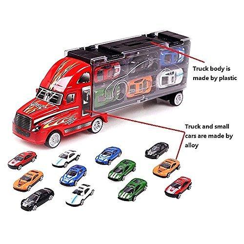 Auto Hauler Autotransporter LKW Koffer mit 12 Racing Alu-Autos Set - 1X zufällige Farbe