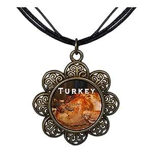 Chicforest Bronze Retro Style roast Turkey meat Sun Flower Pendant