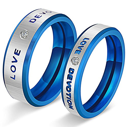 MoAndy Jewelry Stainless Steel Men's Fashion Rings Love Devotion Smooth Blue US Size 10 from MoAndy