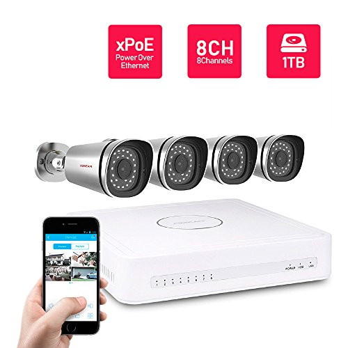 Foscam 8CH xPoE 720P Security CCTV Surveillance System, Simplified Power Over Ethernet NVR KIT, Pre-Installed 1TB HDD, 4 720P HD Outdoor IP66 Waterproof IP Camera, 65FT Night Vision, FN3108XE-B4-1T (Real Time Ip Camera Monitoring System Foscam)