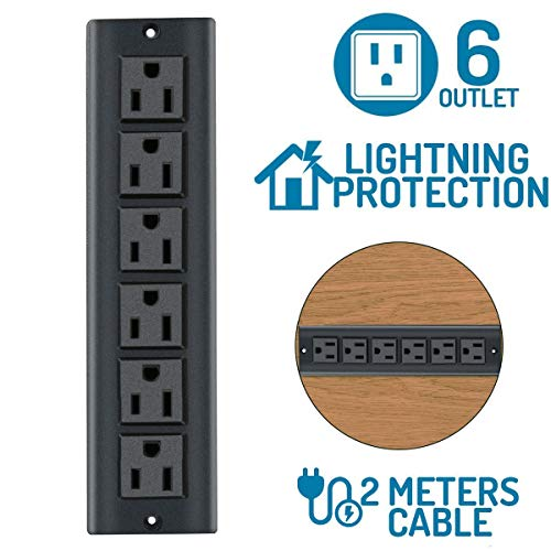 6 Outlets Power Strip 12A/125V Multi-Outlet AC Power, Conference Recessed Power Strip Socket with6.56Ft Cord