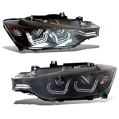 SPPC Black Projector Headlights Bar Plank Style for BMW 3 SERIES F30 4 DOOR (ONLY FIT WITHOUT MOTOR VERSION) - (Pair) (Bmw 320i Assembly Headlight)