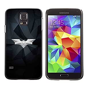 Colorful Printed Hard Protective Back Case Cover Shell Skin for SAMSUNG Galaxy S5 V / i9600 / SM-G900F / SM-G900M / SM-G900A / SM-G900T / SM-G900W8 ( Bat White Geometrical Art Modern Structure )