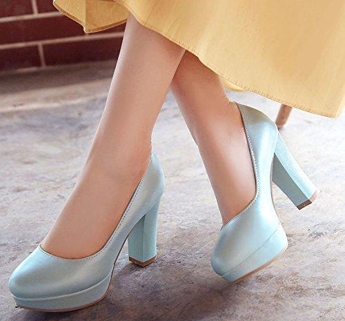 Profonde Escarpins Femme Soirée Easemax Plateforme de Chaussure Peu Mode Bleu tOaqxwfR