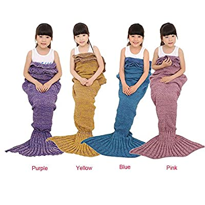 Moxeay Knitted Mermaid Tail Design Blanket For Adult Kids Baby