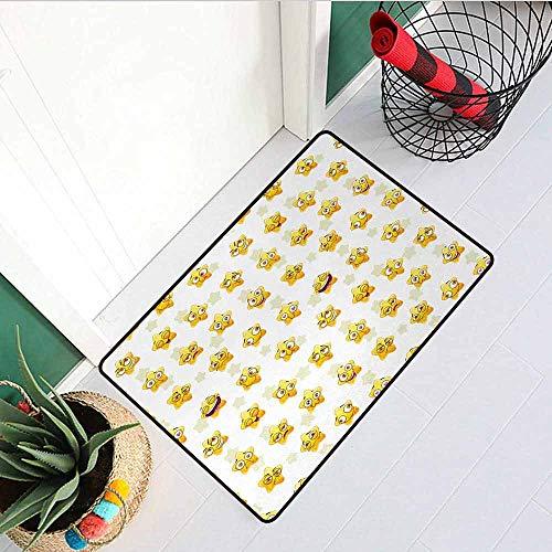 (GloriaJohnson Emoji Universal Door mat Pattern with Cartoon Style Yellow Stars Showing Happiness and Love Door mat Floor Decoration W29.5 x L39.4 Inch Yellow Fuchsia Pale)