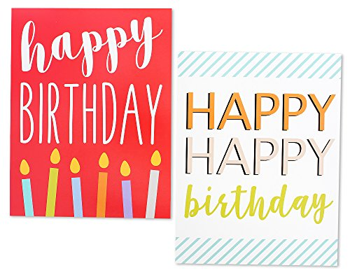12 Pack Jumbo Big Happy Birthday Greeting Cards Assortment - Bulk Box Set - 6 Assorted Unique Multicolor Designs - Envelopes Included, 8.5 x 11 Inches Photo #5