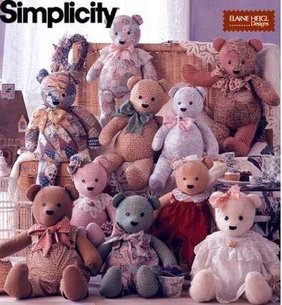 Simplicity 8418 - Sewing Pattern for 18, 20 and 22 Inch Bears with Overalls and Collars