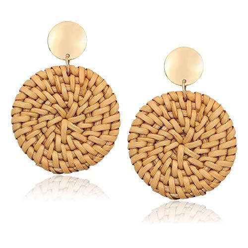 Rattan Earrings Handmade Straw Wicker Braid Woven Drop Earrings Boho Round Disc Earrings Lightweight Statement Stud Earrings For Women - Round Drop Disc