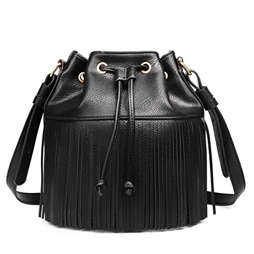 Miss Lulu Leather Look Fringe Tassel Drawstring Bucket Hobo Shoulder Bag (Black)