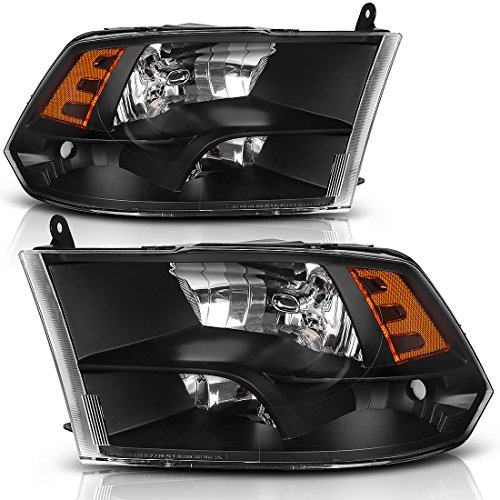 or 09-18 Dodge Ram 1500 2500 3500 Pickup Replacement Headlamp,Black Housing with Daytime Running Lamps,One-Year Warranty(Passenger And Driver Side) (Dodge Ram 1500 Headlamp)