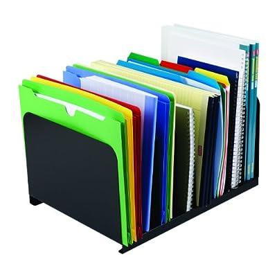 "STEELMASTER Desktop Vertical Organizer, 8 Sections, Steel, 15"" x 8.13"" x 11"", Black (2648004)"
