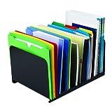 "STEELMASTER Desktop Vertical Organizer, 8 Sections, Steel, 15"" x 8.13"" x 11"", Black"