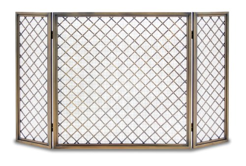 Pilgrim Home and Hearth 18243 Hartwick Tri Fireplace Panel Screen, Antique Brass