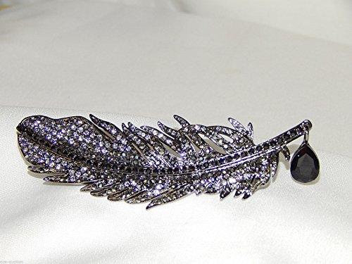 Black Diamond, Black Onyx Rhinestone Design Feather W. Teardrop Crystal Brooch Scarf ClipsCorsage Jewelry for Lady -