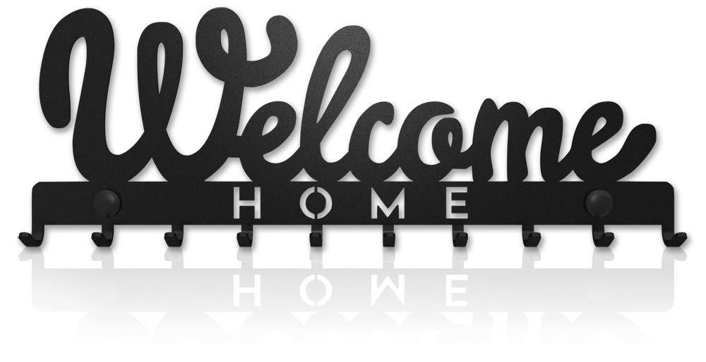 Key Holder for Wall Welcome Home (10-Hook Rack) Decorative, Metal Hanger for Front Door, Kitchen, or Garage | Store House, Work, Car, Vehicle Keys | Vintage Decor