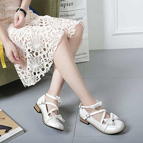 Lolita White Low Toe Shoes Chunky Japanese Strappy Party Bowtie Round Tea Sweet Heels 5aqnwFU