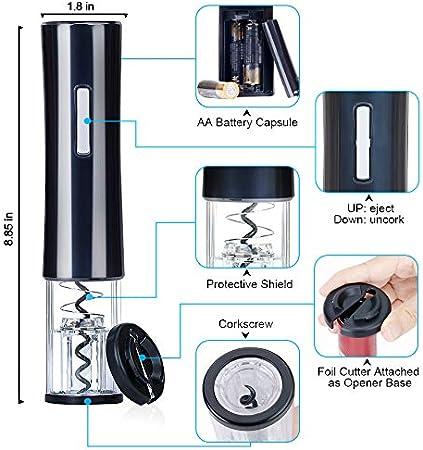 CIRCLE JOY - Abrebotellas de vino eléctrico automático, sacacorchos con cortador de aluminio, tapones al vacío y vertedor de vino, color negro