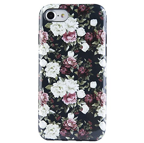 Dimaka Case for iPhone7 & 8,Cute Flowers Floral Pattern Design Case for Girls,2 Layer Hybrid Drop Proof Cover [Retro Design] for iPhone 7 and 8(Black Peony, iPhone 7 & 8)