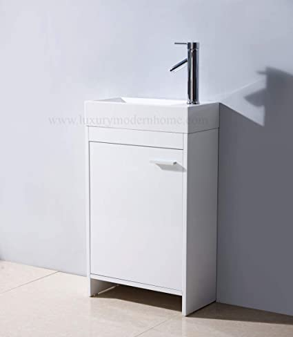 Vs Alexius 2 18 X 10 Inch Small Freestanding Vanity Sink Bathroom Modern Contemporary Narrow Tiny Short Cabinet Corian White