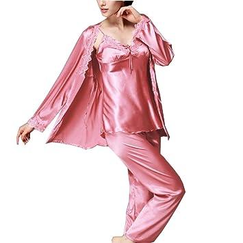 GUOLX Pijama De Mujer, Juego De Saco De Dormir De Satén, Pijama De Manga Larga con Cordones, Adecuado para Todas Las Estaciones,Coralred-XXL: Amazon.es: ...