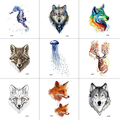 Temporary Tattoo,Tattoo Sticker Animals Stickers For Women Men Adult Girls Boys Wolf Fox Seahorse Reindeer Jellyfish 9 PCS And Easy to Use -