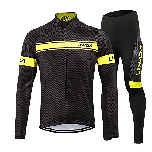 (Lixada Men's Cycling Jersey Suit Winter Thermal Fleece Long Sleeve Mountain Bike Road Bicycle Shirt with 3D Tights Padded Pants)