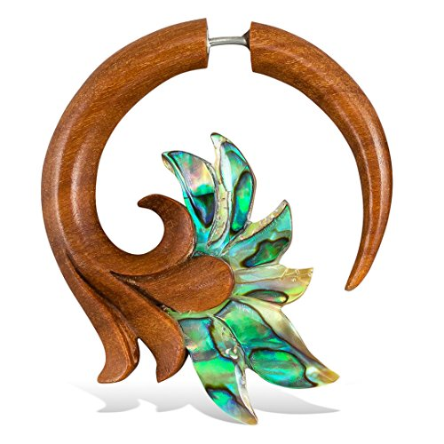 Fake Gauges Wooden Earrings Ambrosia Flowers - Tan Sabo Wood with Abalone Shell