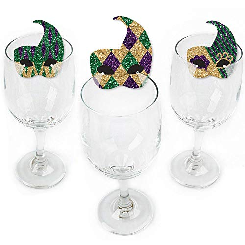 Mardi Gras - Shaped Masquerade Party Wine Glass Markers - Set of 24