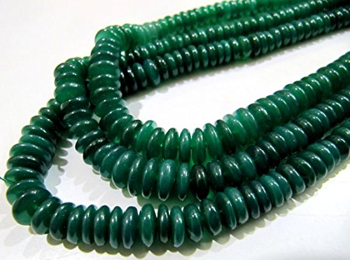Natural Graduated Green Onyx Beads/Smooth Rondelle German Cut Green Onyx Beads/6-9mm Size Beads/Strand 8 inches Long/Gemstone Beads (Graduated Onyx)
