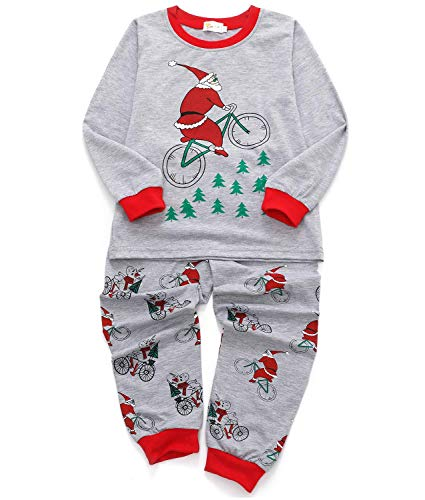 EULLA Tecrok Toddler Boys Cotton Pjs Cute Elephant Dinosaur Pajama Set Cartoon Sleepwear for Kids (4-5 Years, J-Santa Claus)