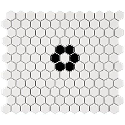"""SomerTile FXLM1HGF Retro Hex Flower Porcelain Floor and Wall Tile, 10.25"""" x 11.75"""", Glossy White/Black"""