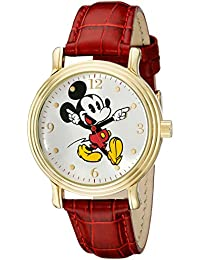 Women's W001870 Mickey Mouse Gold-Tone Watch with Red Faux Leather Band