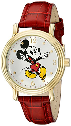 - Disney Women's W001870 Mickey Mouse Gold-Tone Watch with Red Faux Leather Band