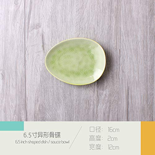 Personalized Shaped Ceramic Cutlery Set Fruit Salad Bowl Noodle Soup Bowl Bone Disc Shaped Ceramic Plate Dish 16x12x2cm